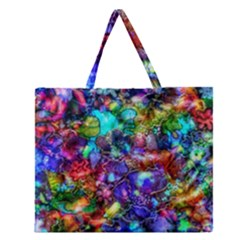 Blue Floral Abstract Zipper Large Tote Bag by KirstenStar