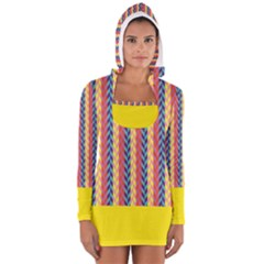 Colorful Chevron Retro Pattern Women s Long Sleeve Hooded T Shirt by DanaeStudio