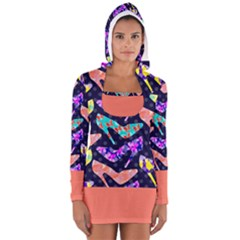 Colorful High Heels Pattern Women s Long Sleeve Hooded T Shirt