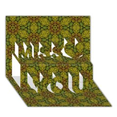 Camo Abstract Shell Pattern Miss You 3d Greeting Card (7x5) by TanyaDraws