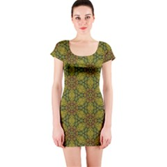 Camo Abstract Shell Pattern Short Sleeve Bodycon Dress by TanyaDraws