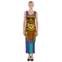 Flower Mice In Peace Balls Pop Art Fitted Maxi Dress