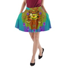 Flower Mice In Peace Balls Pop Art A Line Pocket Skirt by pepitasart