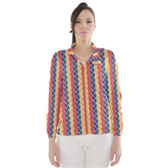 Colorful Chevron Retro Pattern Wind Breaker (women) by DanaeStudio