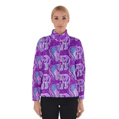 Cute Violet Elephants Pattern Winter Jacket