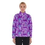 Cute Violet Elephants Pattern Winter Jacket