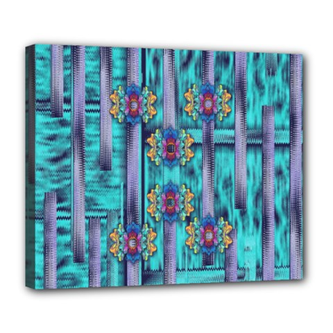 Lace And Fantasy Florals Shimmering Deluxe Canvas 24  X 20   by pepitasart