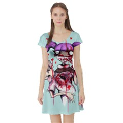 Second Date  Short Sleeve Skater Dress by lvbart