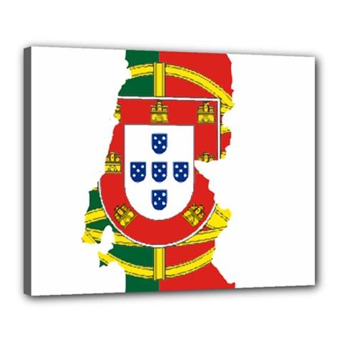 Flag Map Of Portugal Canvas 20  X 16  by abbeyz71