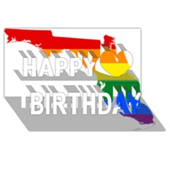Lgbt Flag Map Of Florida Happy Birthday 3d Greeting Card (8x4)