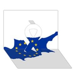 European Flag Map Of Cyprus  Ribbon 3d Greeting Card (7x5) by abbeyz71