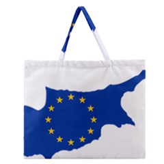 European Flag Map of Cyprus  Zipper Large Tote Bag by abbeyz71