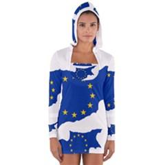 European Flag Map Of Cyprus  Women s Long Sleeve Hooded T Shirt by abbeyz71