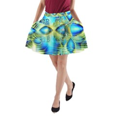 Crystal Lime Turquoise Heart Of Love, Abstract A Line Pocket Skirt by DianeClancy