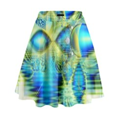 Crystal Lime Turquoise Heart Of Love, Abstract High Waist Skirt by DianeClancy
