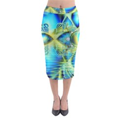Crystal Lime Turquoise Heart Of Love, Abstract Midi Pencil Skirt by DianeClancy
