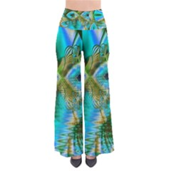 Crystal Gold Peacock, Abstract Mystical Lake Women s Chic Palazzo Pants by DianeClancy