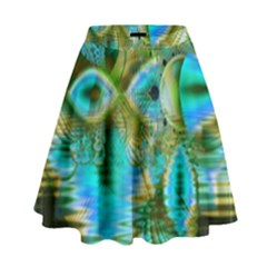 Crystal Gold Peacock, Abstract Mystical Lake High Waist Skirt by DianeClancy