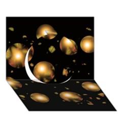 Golden Balls Circle 3d Greeting Card (7x5) by Valentinaart
