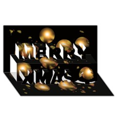 Golden Balls Merry Xmas 3d Greeting Card (8x4)