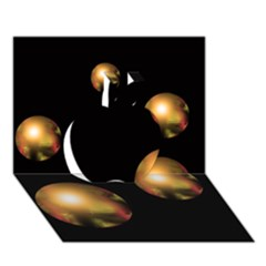 Golden Pearls Apple 3d Greeting Card (7x5) by Valentinaart