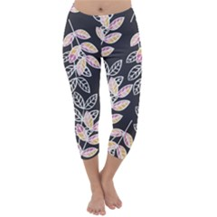 Winter Foliage Capri Winter Leggings  by DanaeStudio