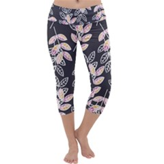 Winter Foliage Capri Yoga Leggings by DanaeStudio