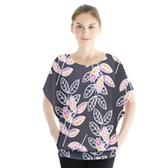 Winter Foliage Batwing Chiffon Blouse by DanaeStudio
