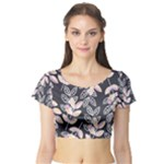 Winter Foliage Short Sleeve Crop Top (Tight Fit)