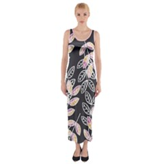 Winter Foliage Fitted Maxi Dress