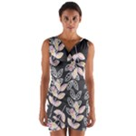 Winter Foliage Wrap Front Bodycon Dress