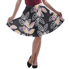 Winter Foliage A Line Skater Skirt