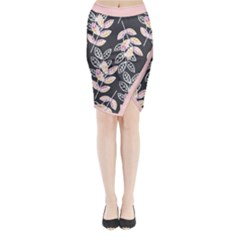 Winter Foliage Midi Wrap Pencil Skirt
