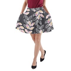 Winter Foliage A Line Pocket Skirt