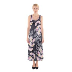 Winter Foliage Sleeveless Maxi Dress