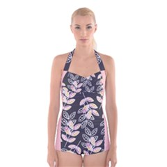 Winter Foliage Boyleg Halter Swimsuit