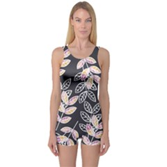 Winter Foliage One Piece Boyleg Swimsuit