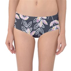 Winter Foliage Mid Waist Bikini Bottoms by DanaeStudio