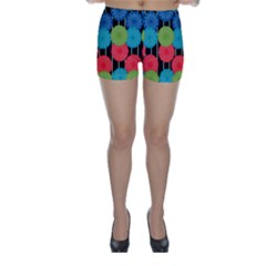 Vibrant Retro Pattern Skinny Shorts