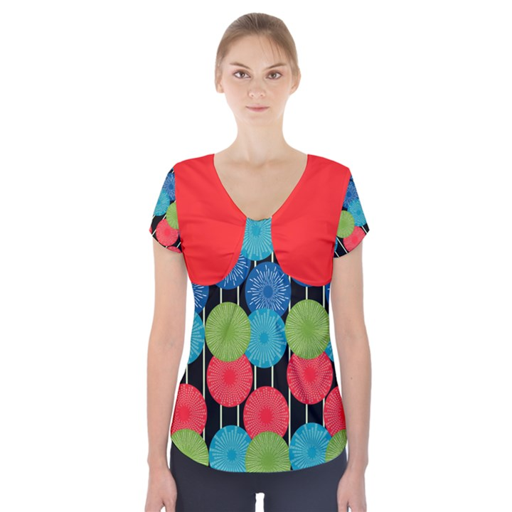 Vibrant Retro Pattern Short Sleeve Front Detail Top