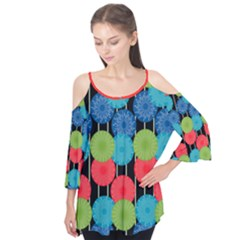 Vibrant Retro Pattern Flutter Sleeve Tee  by DanaeStudio
