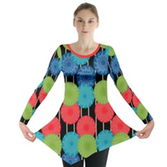 Vibrant Retro Pattern Long Sleeve Tunic