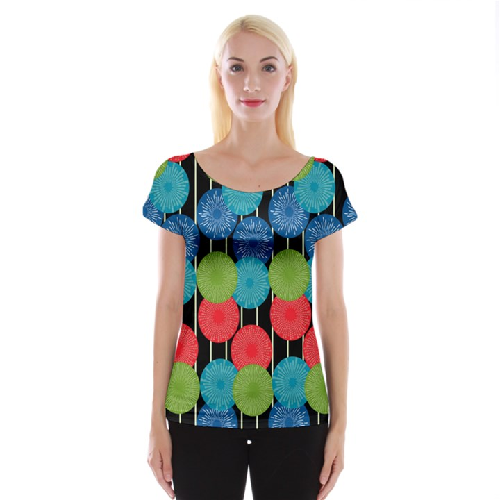 Vibrant Retro Pattern Women s Cap Sleeve Top