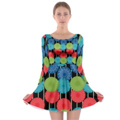 Vibrant Retro Pattern Long Sleeve Skater Dress