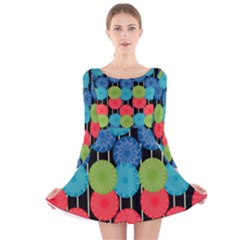 Vibrant Retro Pattern Long Sleeve Velvet Skater Dress