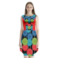 Vibrant Retro Pattern Sleeveless Chiffon Dress