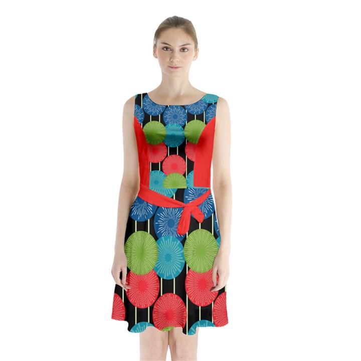 Vibrant Retro Pattern Sleeveless Chiffon Waist Tie Dress