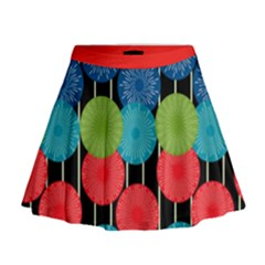 Vibrant Retro Pattern Mini Flare Skirt