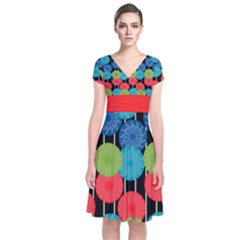Vibrant Retro Pattern Short Sleeve Front Wrap Dress