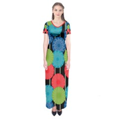 Vibrant Retro Pattern Short Sleeve Maxi Dress by DanaeStudio